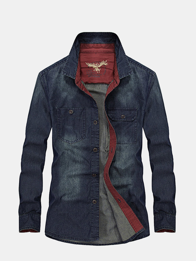 Military Style Denim Dress Shirt Casual Cotton Double Chest Pockets Long Sleeve Shirt For Men