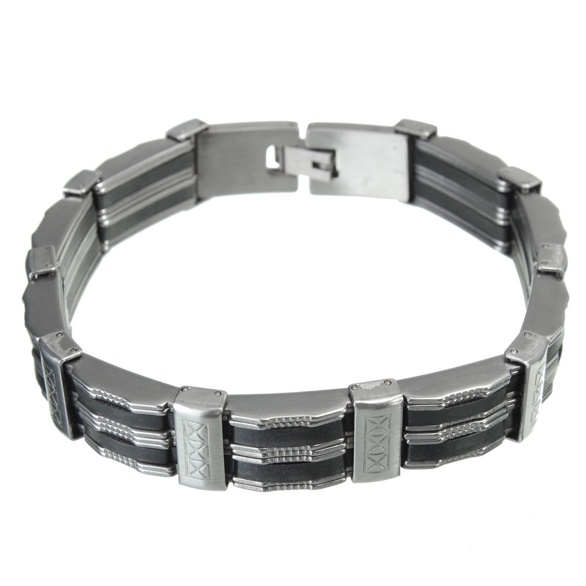 Stainless Steel & Silicone Wristband Bracelet