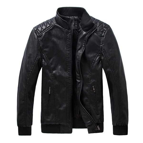 Men's Motorcycle Black PU Leather Jacket Washing Stand Collar Slim Fit Coat