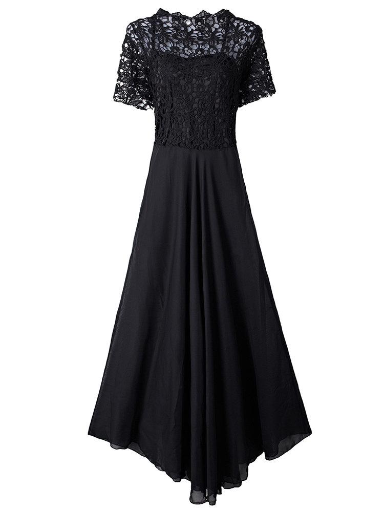 Evening Party Lace Hollow Patchwork Transparent Black Elegant Women Maxi Dress