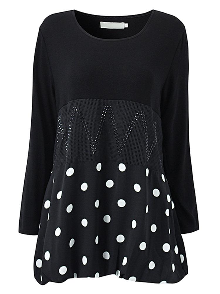 Элегантный Сыпучие Dots Лоскутная шею длинным рукавом Блузка для женщин