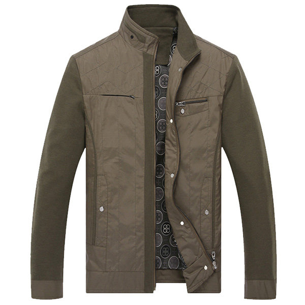 British Style Casual Business Stitching Multi-Pockets Thin Stand Collar Jacket For Men
