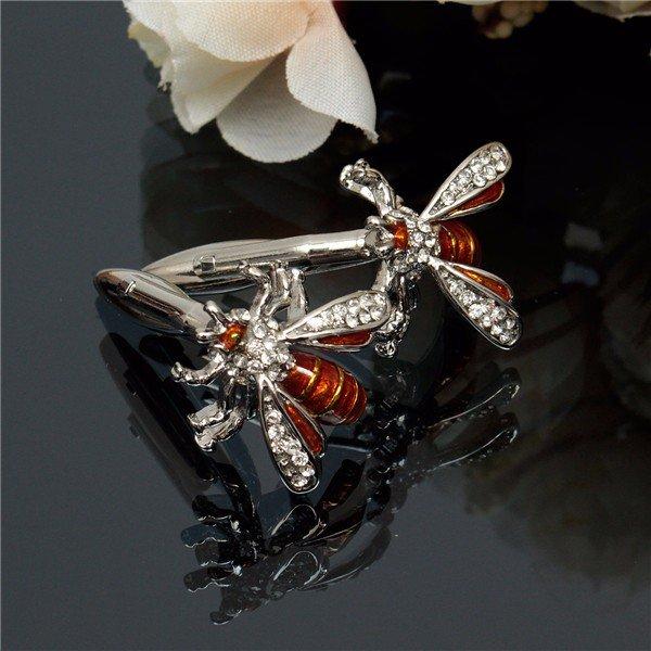 Men Silver Cufflinks Bee Crystal Pattern Wedding Gift Suit Shirt Accessories