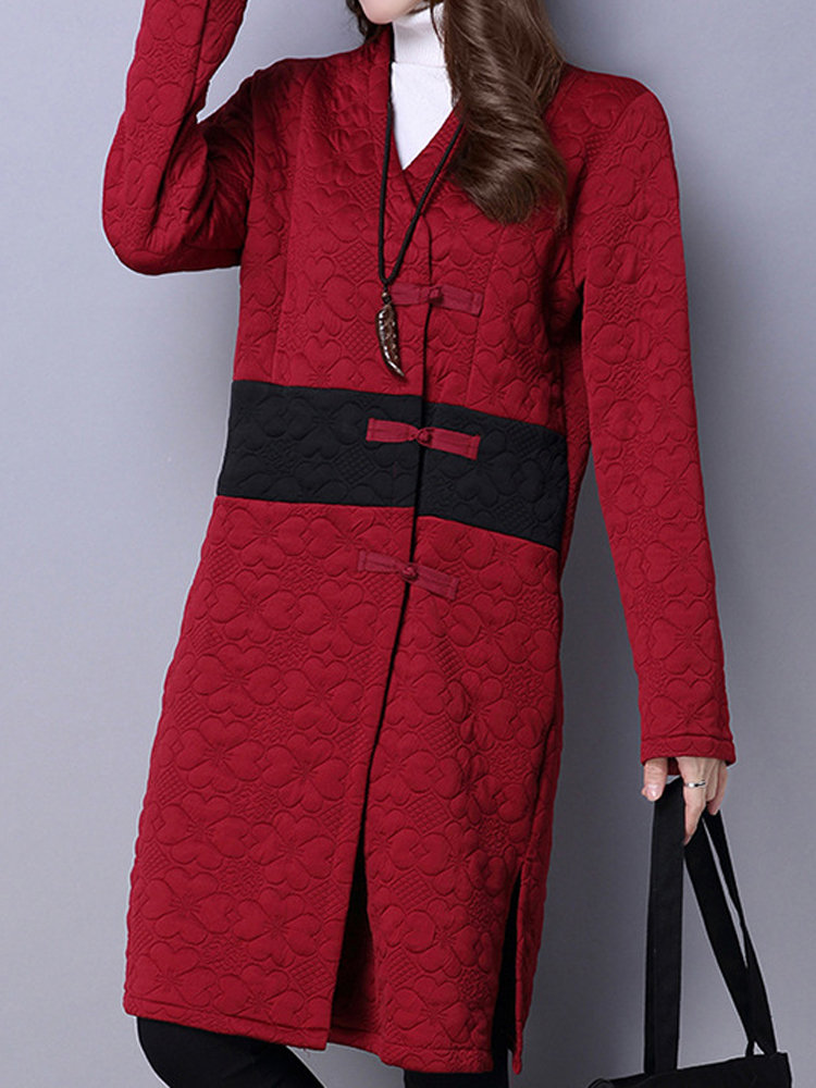 Women Ethnic Contrast Color Plate Buckles V-neck Long Sleeve Coat