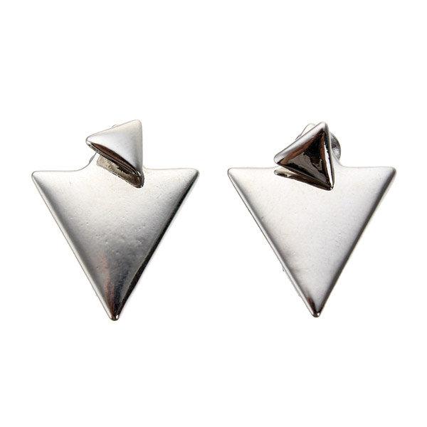 Геометрическая треугольник Золото Серебро серьги