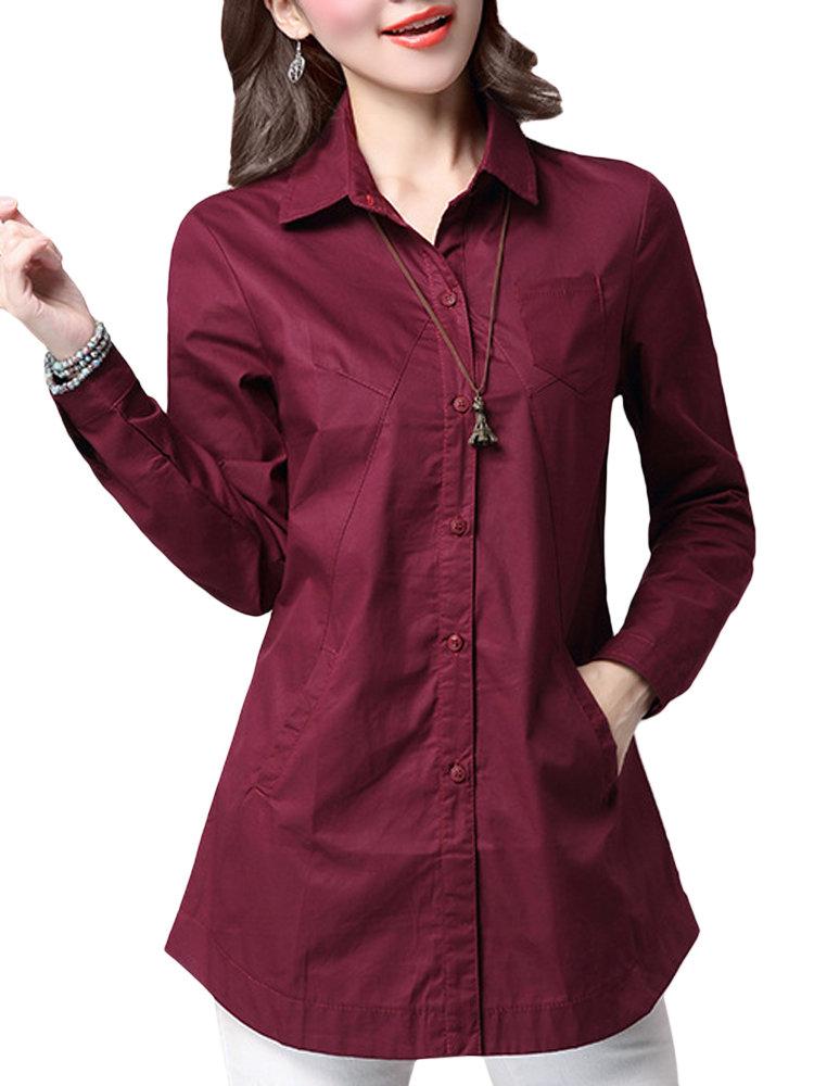 Женщины чистого цвета с длинным рукавом нагрудные Тонкий Блуза