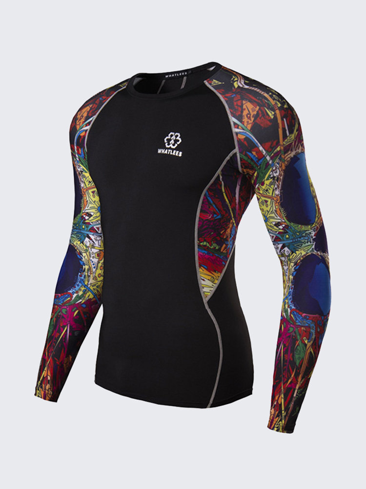 3D Printing Quick-drying Breathable Training Bodybuilding Elastic Tight Long Sleeve Tops For Men