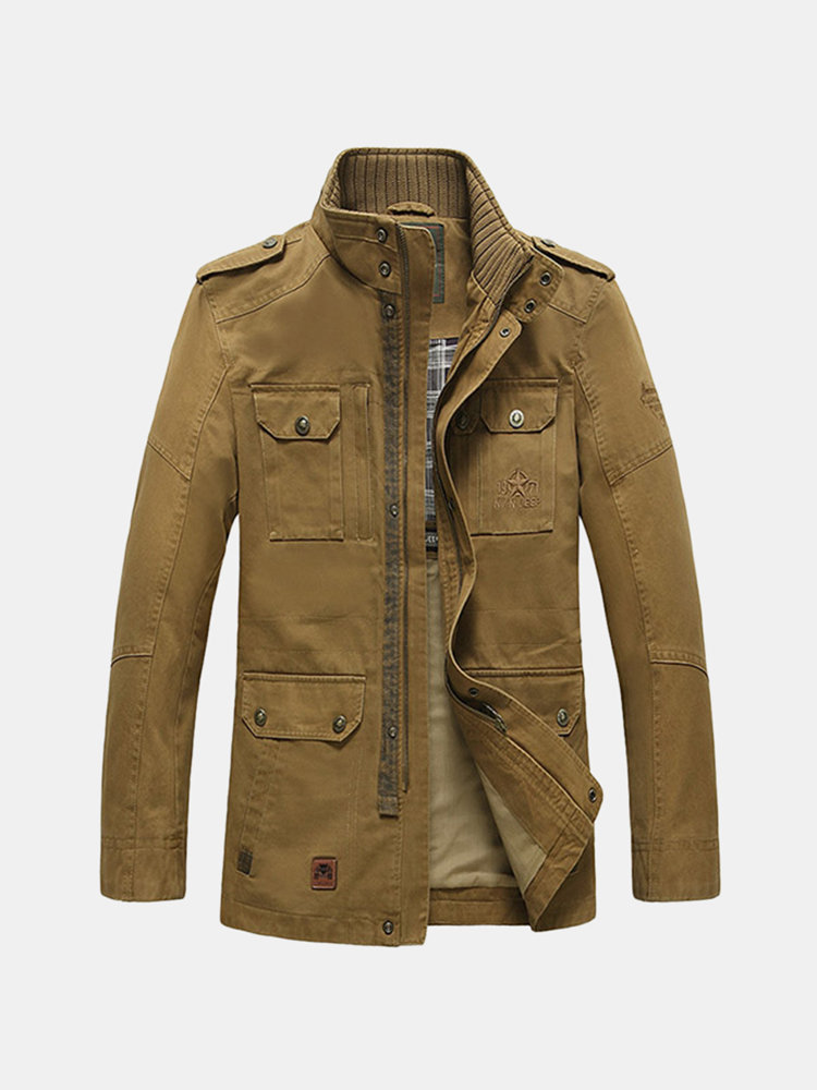 Winter Mens Military Multi-pocket Coat Stand Collar Casual Cotton Jacket