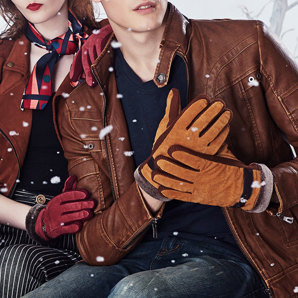 Men Women Couple Pigskin Leather Gloves Driving Cycling Bike Outdoor Coral Fleece Linen Mittens