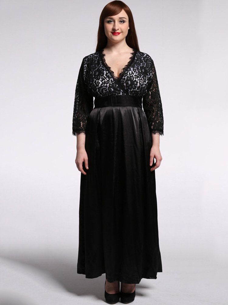 Elegant Lace Hollow Out Patchwork V-Neck Party Maxi Dress For Women