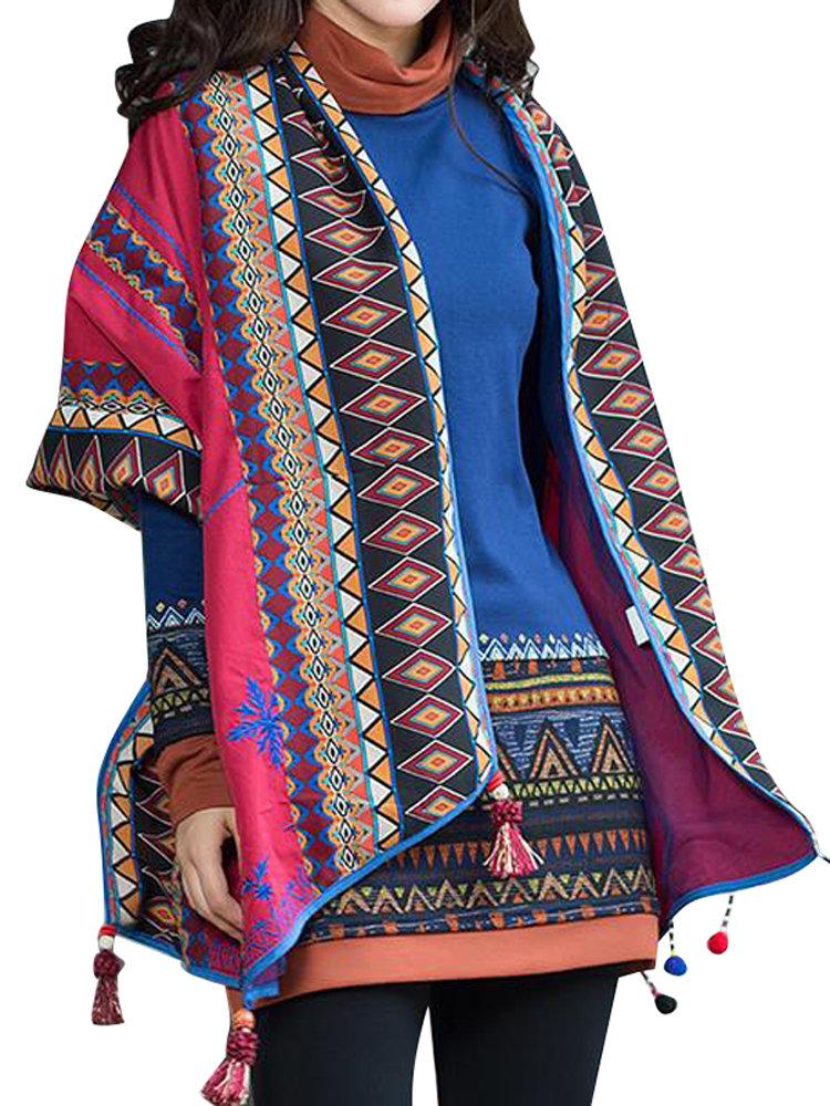 Женщины Этнические Printed кисточки Осень Зима шаль Кардиган