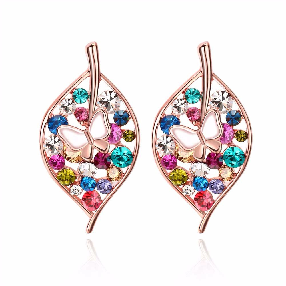 Simple Women Earrings Leaves Rhinestone Butterfly Crystal Earrings