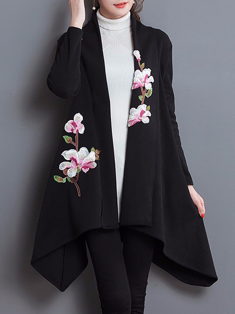 Elegant Floral Embroidered Long Sleeve Sweater Cardigan