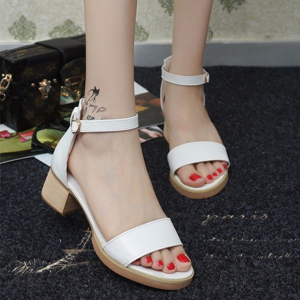 Pure Color Simple British Style Peep Toe Buckle Chunky Square Heel Sandals