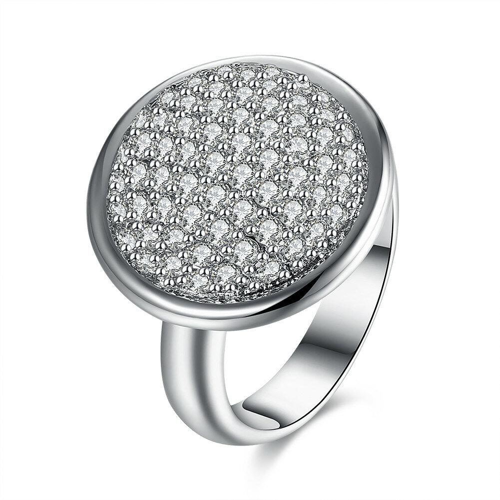Simple Wedding Ring Luxury Big Circle Full Zircon Women Ring