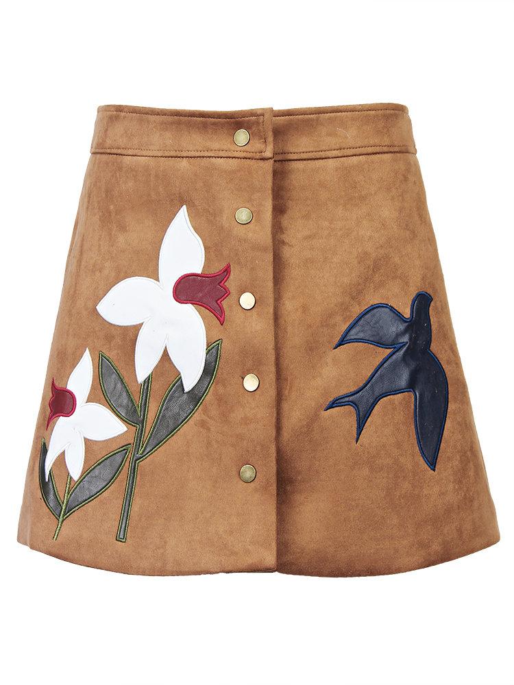 Элегантная вышивка Средний Талия Кнопки на передней панели замша A-Line юбка для женщин