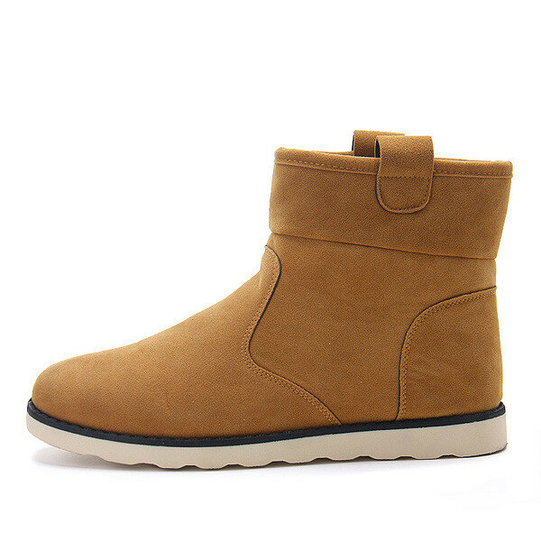 Suede High Top Slip On Warm Fur Lining Casual Ankle Boots For Men
