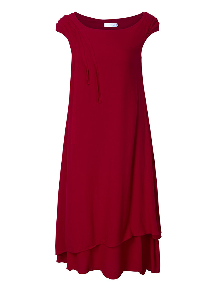 Chinese Style Pure Color Double Layer Dress For Women