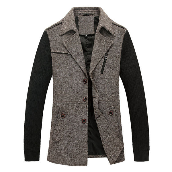 Mens Fall Winter Fashion knitted Patchwork Turndown Collar Casual Jacket Coat