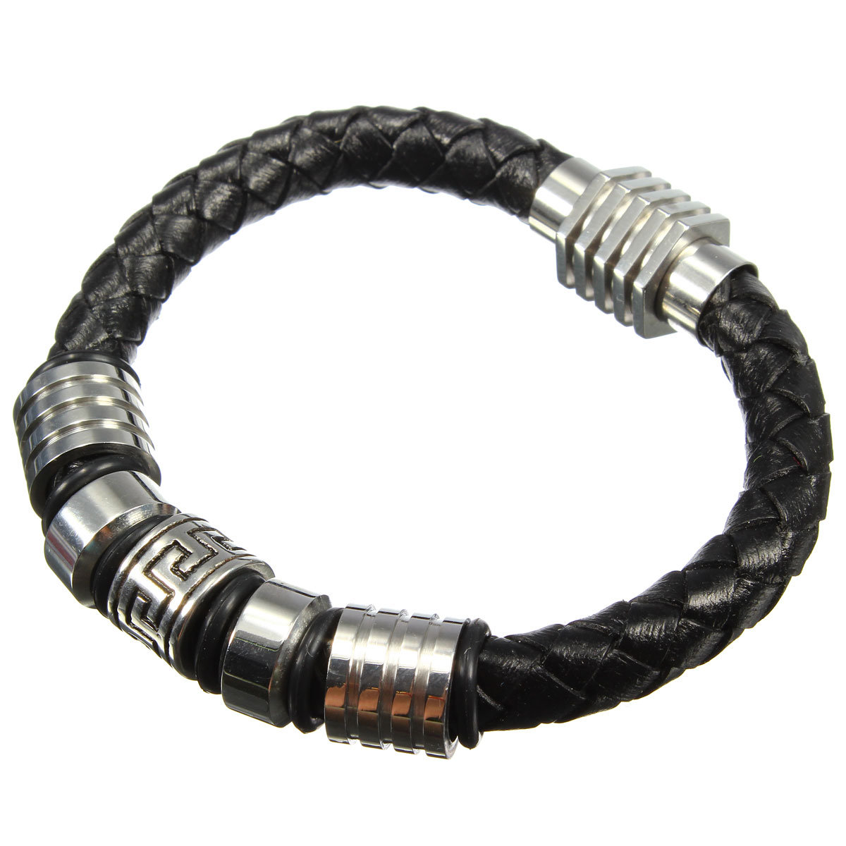 Stainless Steel Black Braided Genuine Leather Bracelet