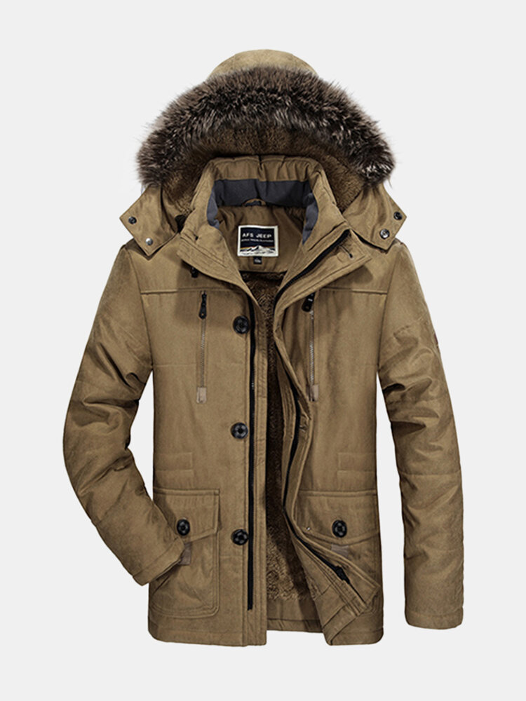 AFS JEEP Plus Size Winter Thicken Detachable Hood and Fur Collar Jacket for Men