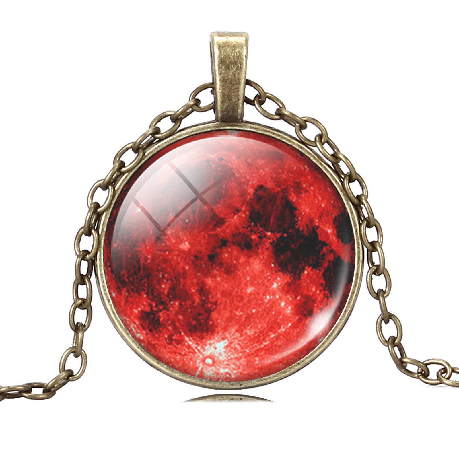 Full Moon Glass Бронзовый ожерелье цепь