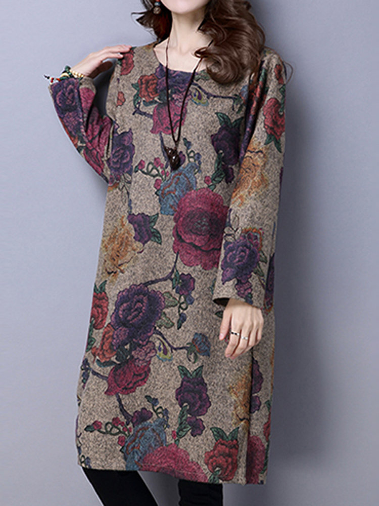 Women Floral Printed Long Sleeve Wool Vintage Dress
