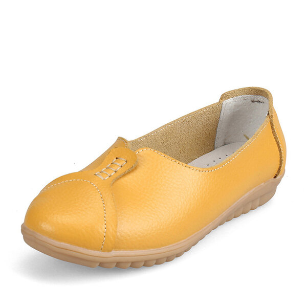 Pure Color Leather Soft Comfortable Breathable Slip On Round Toe Flat Shoes