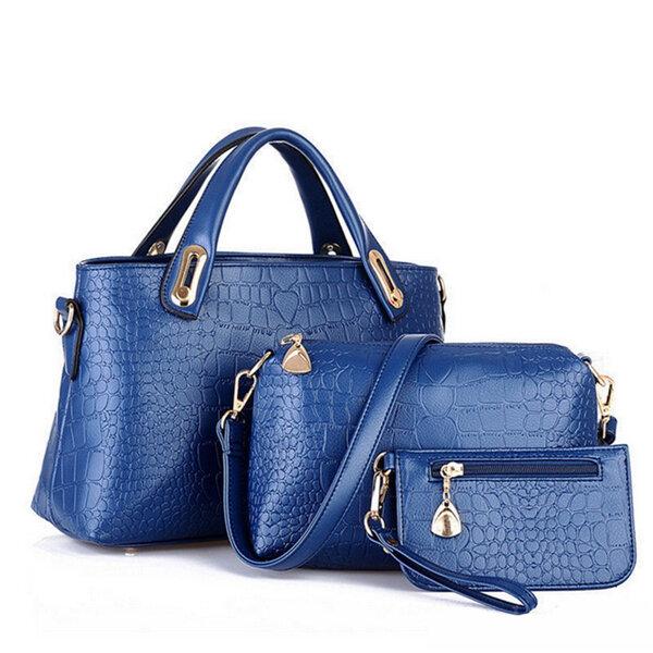 Women PU Leather Handbag Causal Shoulder 3PCS Bags Set