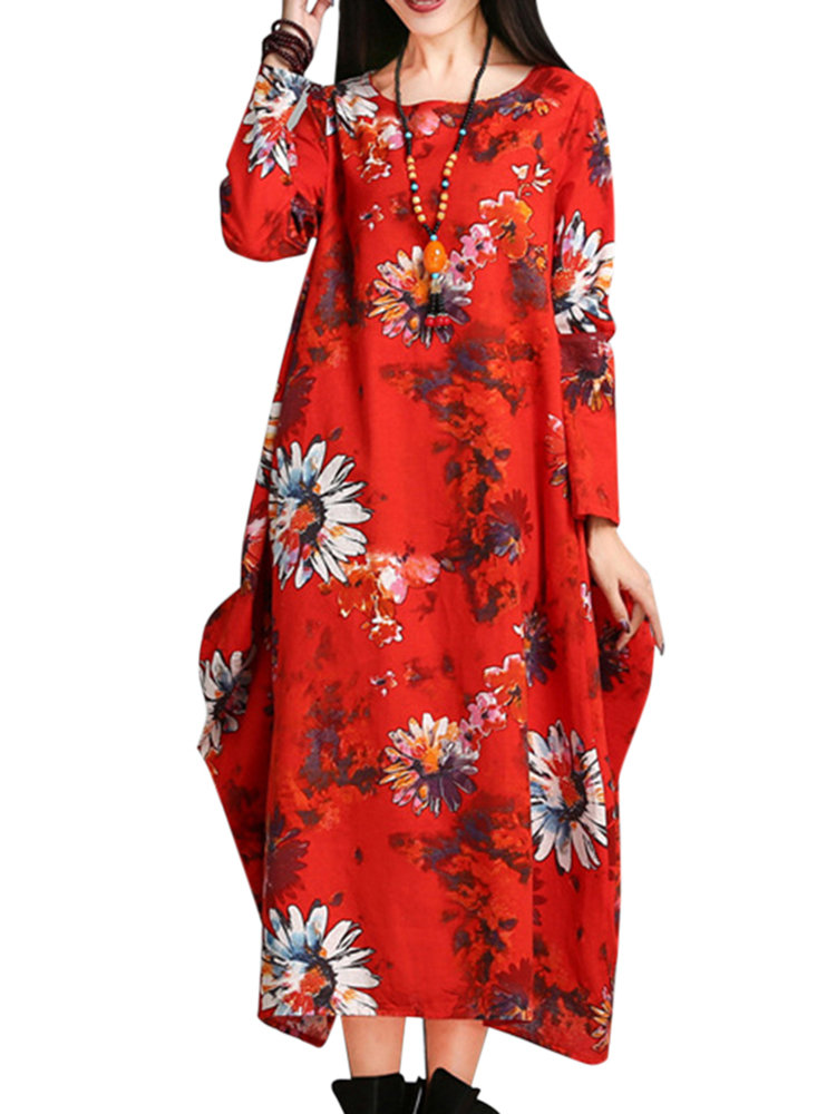 O-Newe Loose Flower Printed Long Sleeve Ball Gown Dress For Women