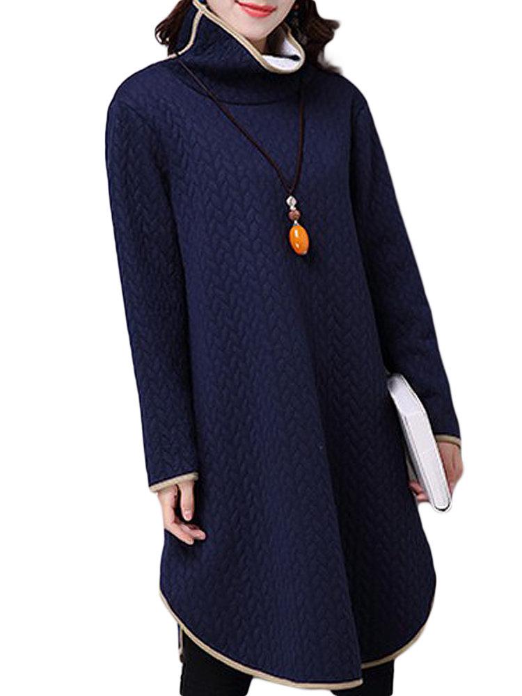 Thick Irregular Hem Solid Embossing Turtleneck Dress