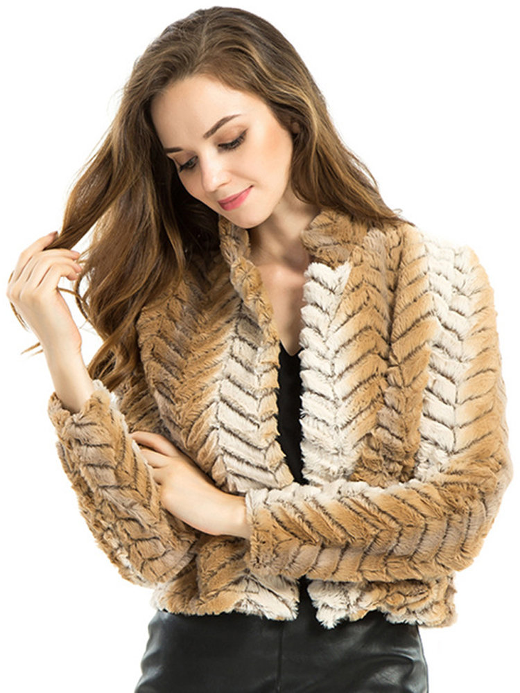Women Casual Stripe Stand Collar Long Sleeve Faux Fur Coat