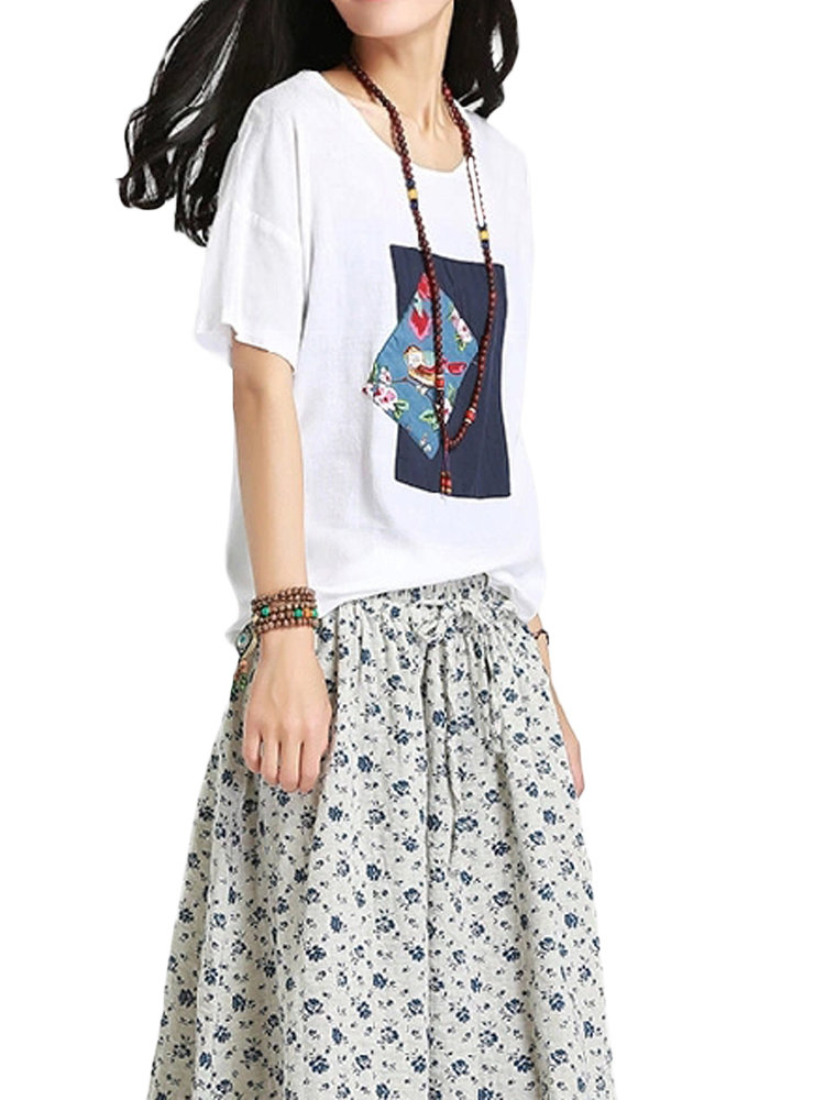 Women Short Sleeve O Neck Floral Printed Casual T-shirt