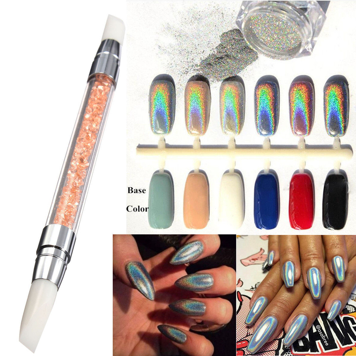 3g Rainbow Holographic Laser Chrome Powder Pigments + Silicone Sculpture Carved Pen Nail Brush