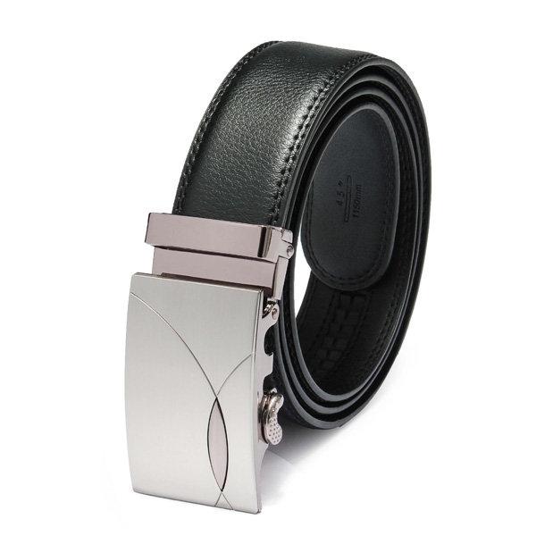 Automatic Buckle Metal Plate Black Men Business Leather Belt