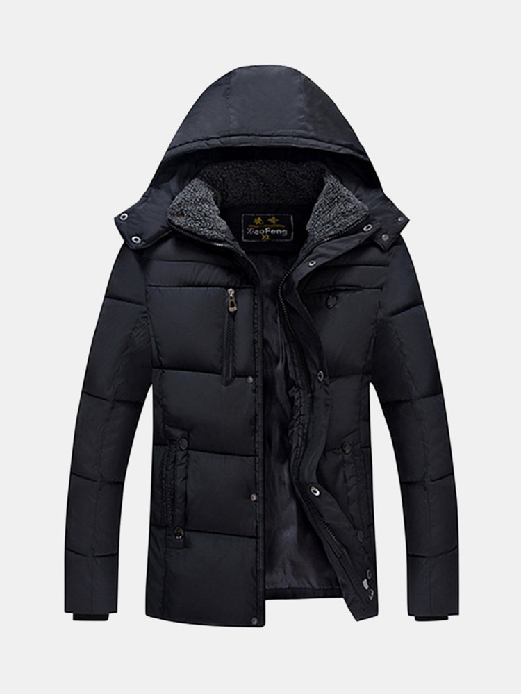 Winter Outdoor Thicken Waterproof Windproof Solid Color Hooded Padded Jacket for Men