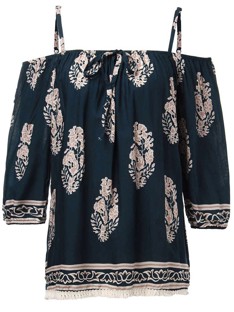 Women Ethnic Strap Off Shoulder Printed Loose Blouse