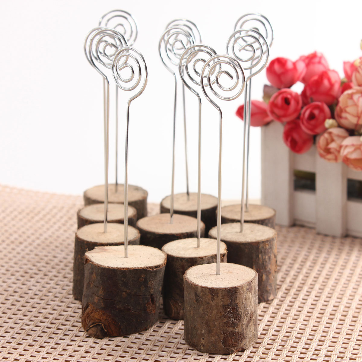 10PCS Wedding Wooden Table Place Number Menu Photo Holders Wire Hardwood