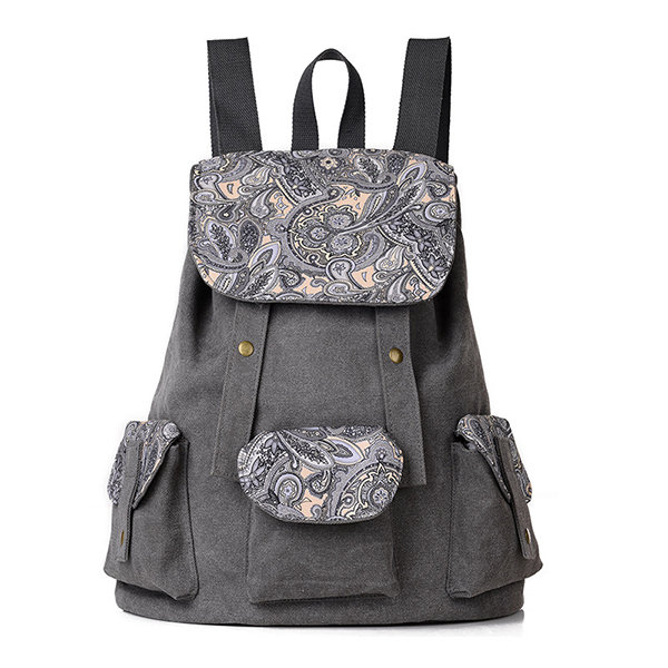 Women Canvas Casual Backpack Large Capacity Flower Pattern Multi-pocket Shoulder Bags