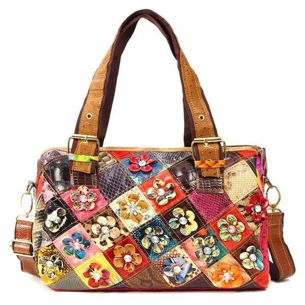 Women Genuine Leatehr Colorful Vintage Handbags Retro Elegant Casual Crossbody Bag