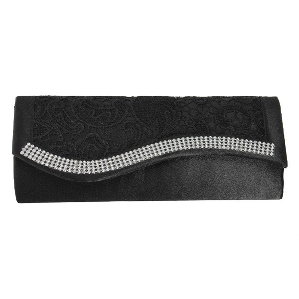 Women Satin Crystal Wedding Cocktail Evening Party Wallet