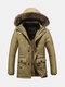 Winter Casual Outdoor Thicken Multi Pockets Plus Size Detachable Hooded Fur Jacket for Men