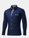Casual Business Stripe Decoration Long Sleeve Solid Color Slim Dress Shirt for Men