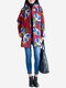 Vintage Women Floral Printed Long Sleeve Thicken Cotton Coat