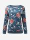 Женщины с длинным рукавом O Шея Цветочные Печатный пуловер Толстовка