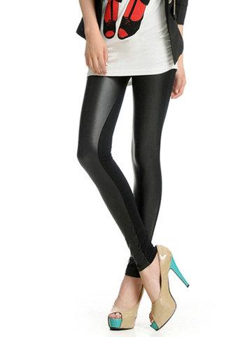 High Waist Splice Leather Elastic Sexy Women Leggings от Newchic.com INT