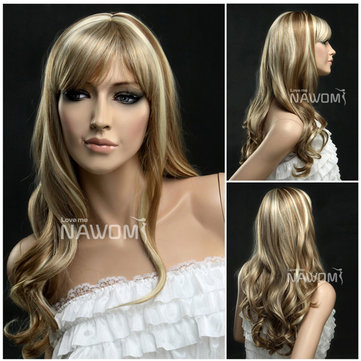 NAWOMI Curly Wavy Capless 100% Kanekalon Synthetic Fiber Hair Wig Highlights Elegant Fluffy Soft