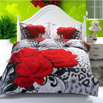 Buy Suit Polyester Fiber 3D Big Red Rose Reactive Dyeing Bedding Sets Queen Size