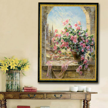 30x40cm 5D Pink Rose DIY Diamond Painting Needlework Rhinestone Cross-stitch Kit