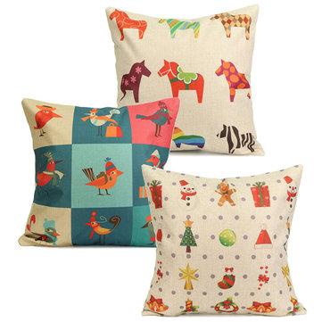 Buy Colorful Christmas Horse Bird Pillow Case Square Home Sofa Car Cushion Cover